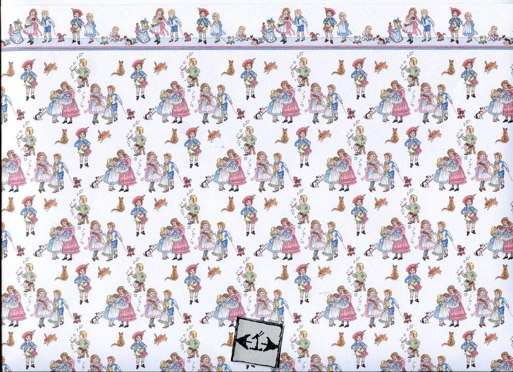 Children w Border JM51 Wallpaper Jacksons Miniatures Dollhouse 1pc 1 1000x726