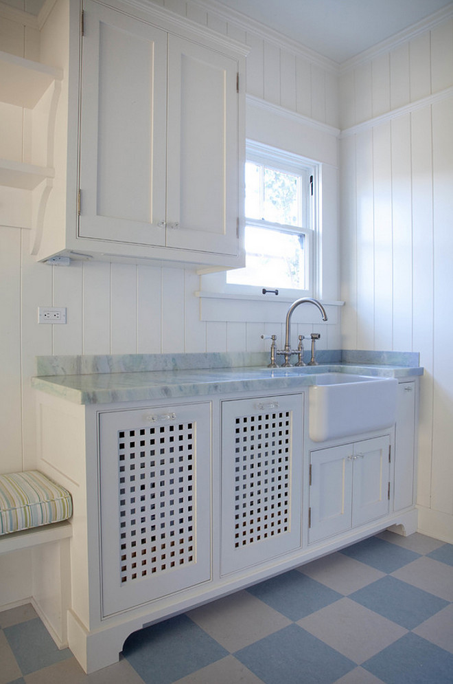 room with white shiplap wall painted in BM White Dove Shiplap 660x995