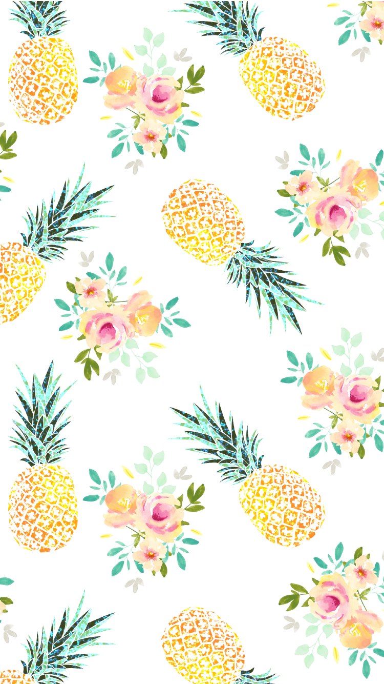 iPhone wallpaper background cute yellow pineapple summer floral 750x1334