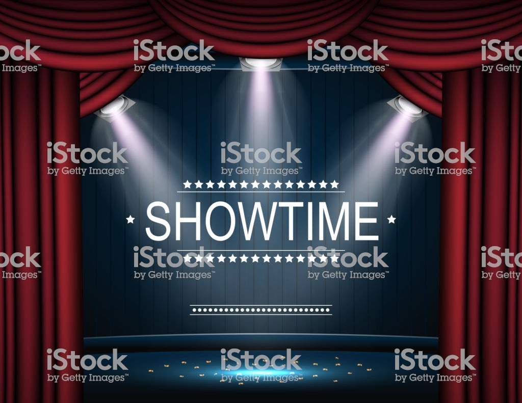 Showtime Background With Curtain Illuminated By Spotlights Stock 1024x791