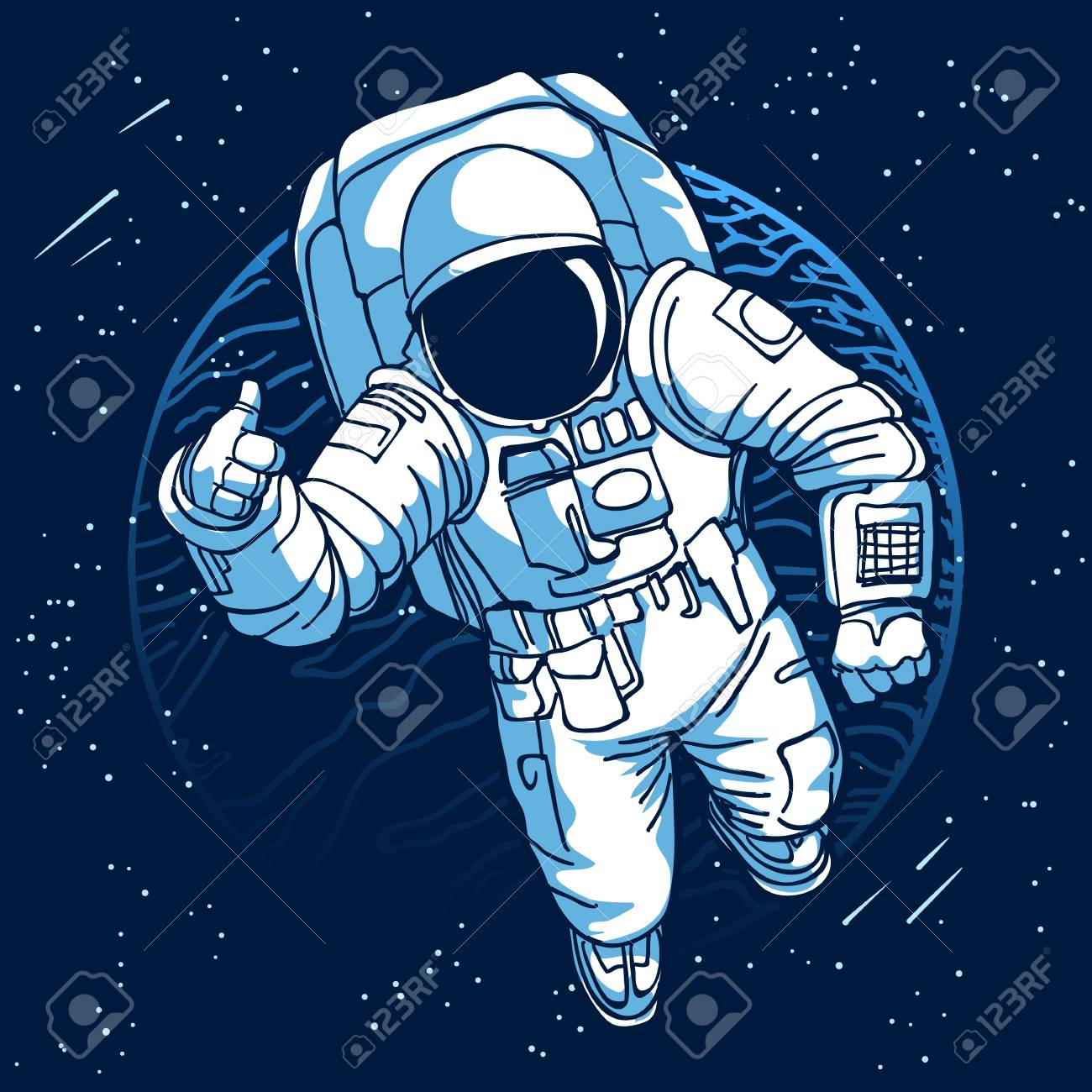 Astronaut Spaceman In Space On Moon Or Earth Planet Background 1300x1300