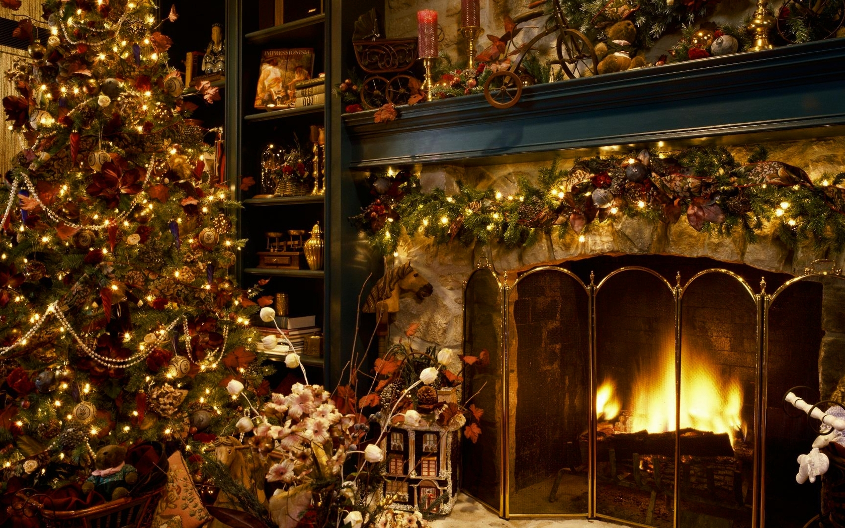 Christmas tree next to the fireplace wallpaper 16233 1680x1050