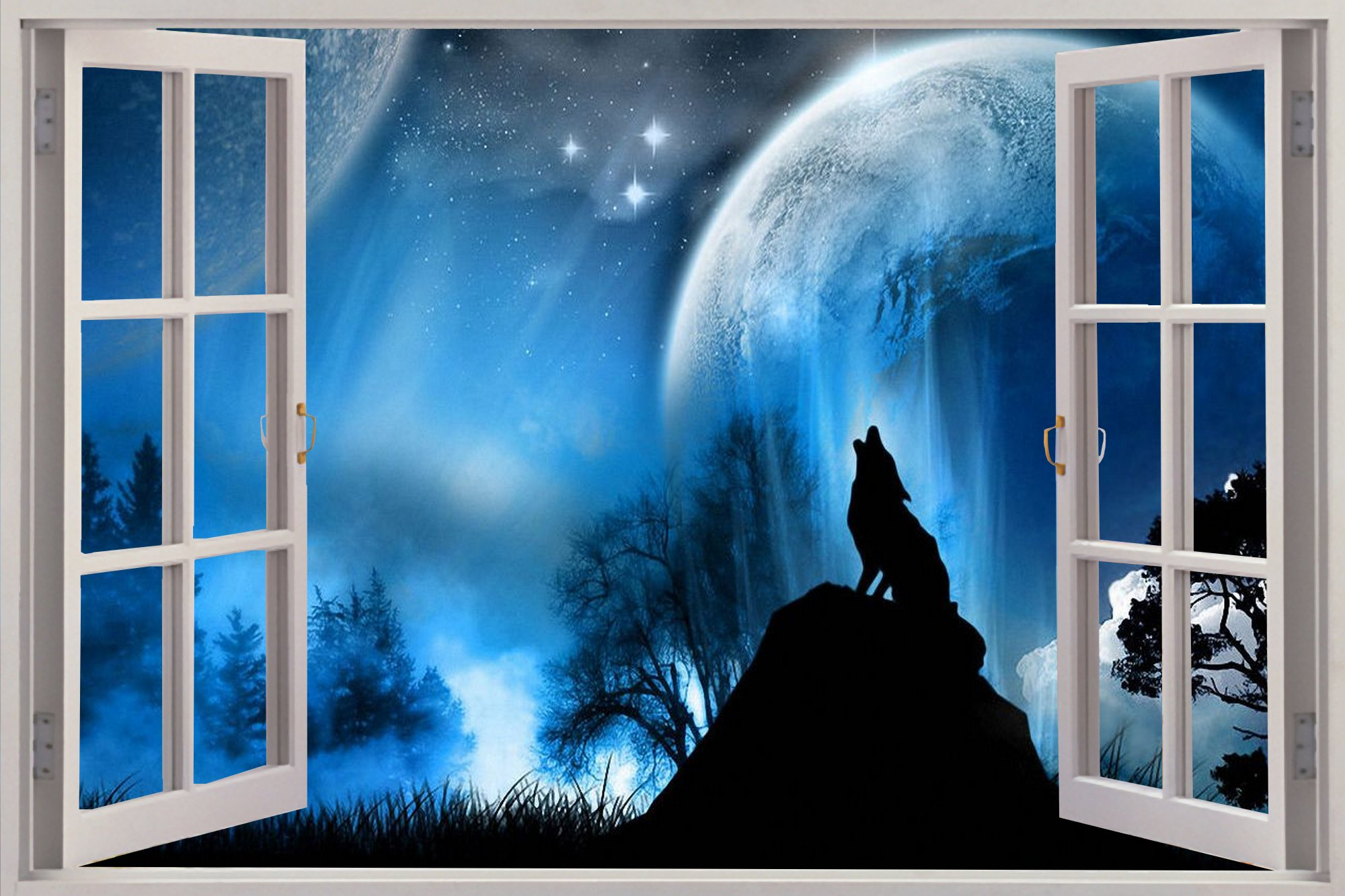 Window Lone Wolf At Night View Wall .