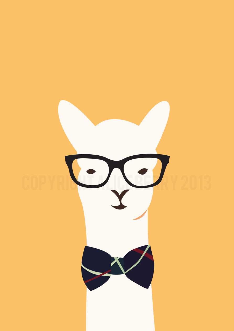 Hipster Llama A3 PRINT Felt 892x1261