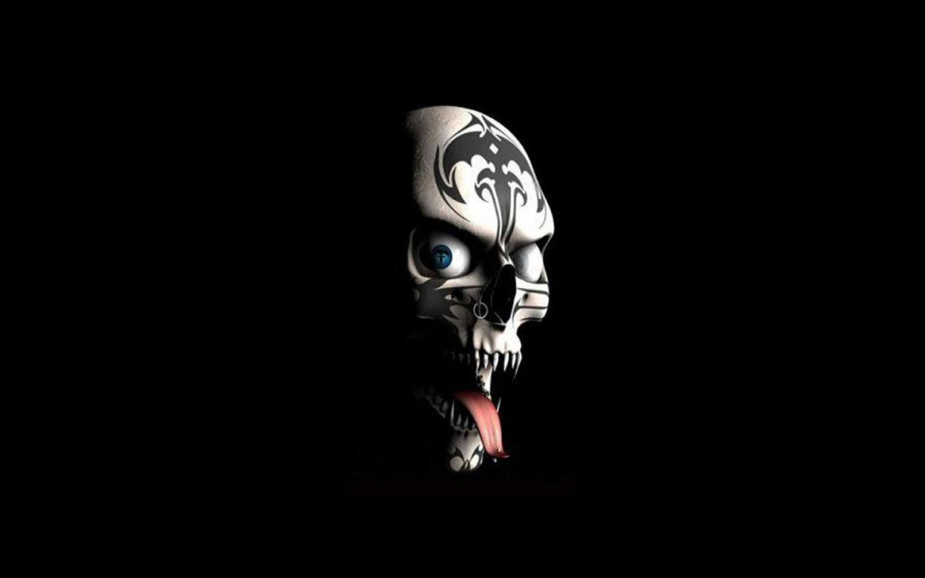 Scary Skull Face Wallpaper Hd Black Background photos Scary Wallpapers 1300x813