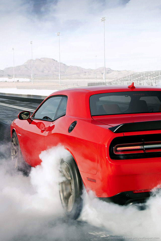 Download Red Dodge Challenger SRT Hellcat Wallpaper For iPhone 4 640x960