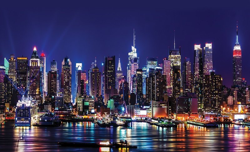 City at night wallpaper murals New York 800x488