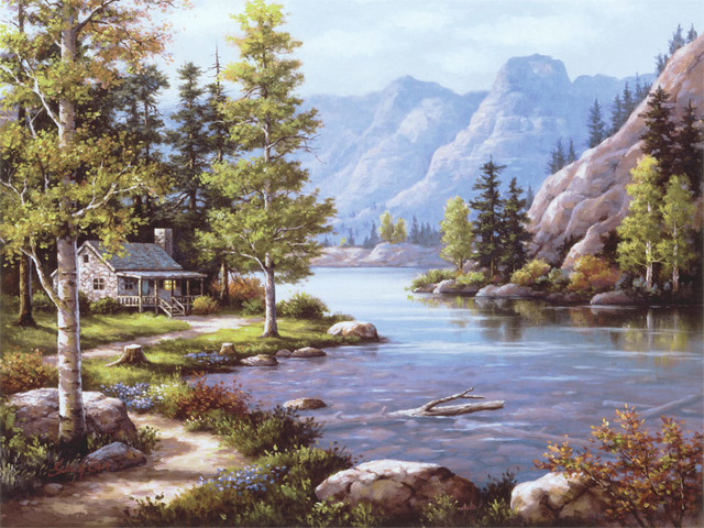 Lakeside Lodge Wall Mural   Contemporary   Wallpaper   by Murals Your 640x480
