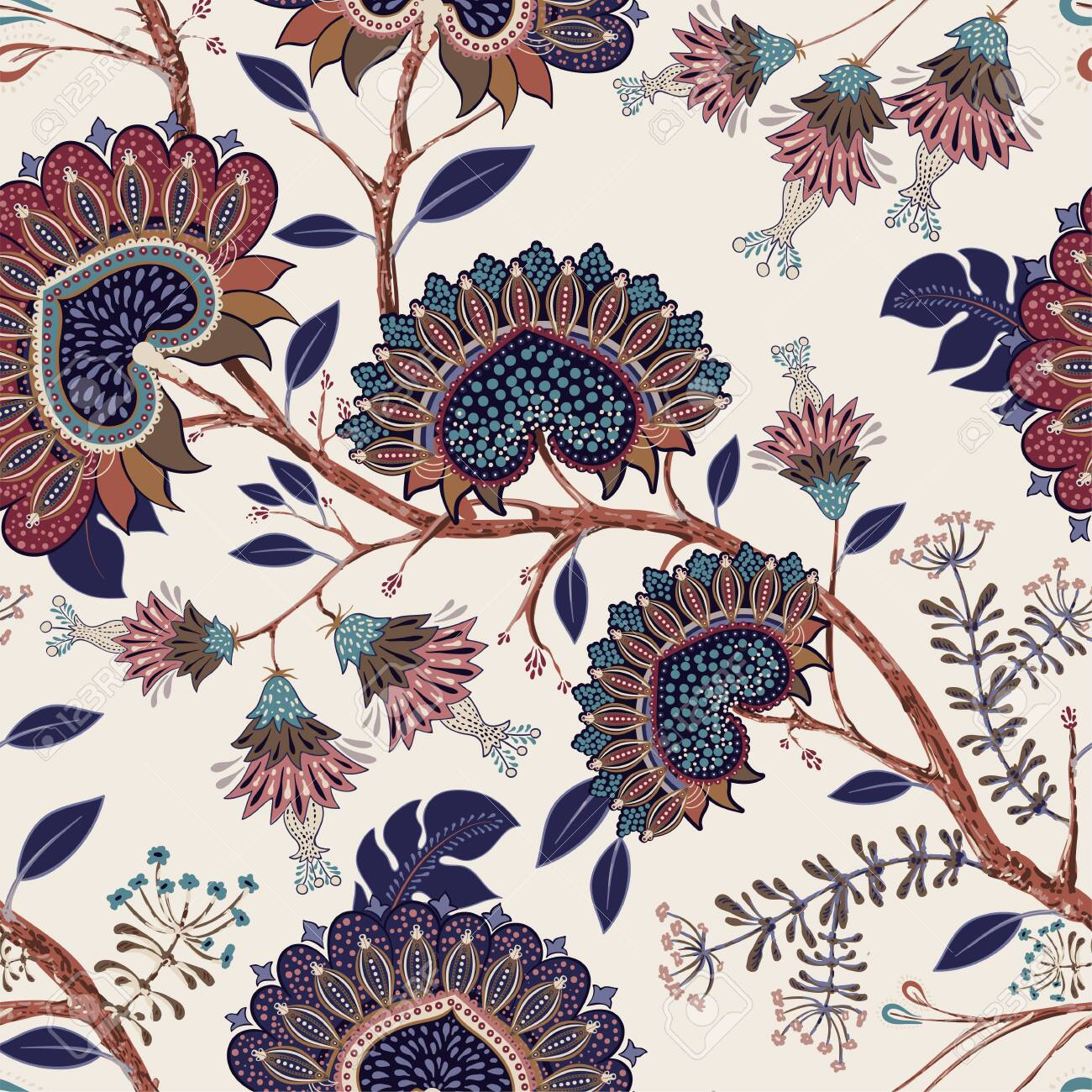 Jacobean Seamless Pattern Flowers Background Provence Style 1300x1300