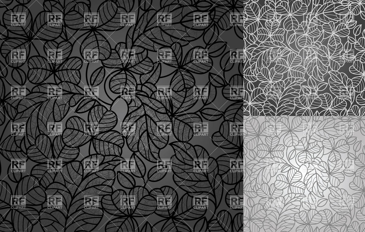 Black and grey retro wallpaper with clover leaves Backgrounds 1200x762