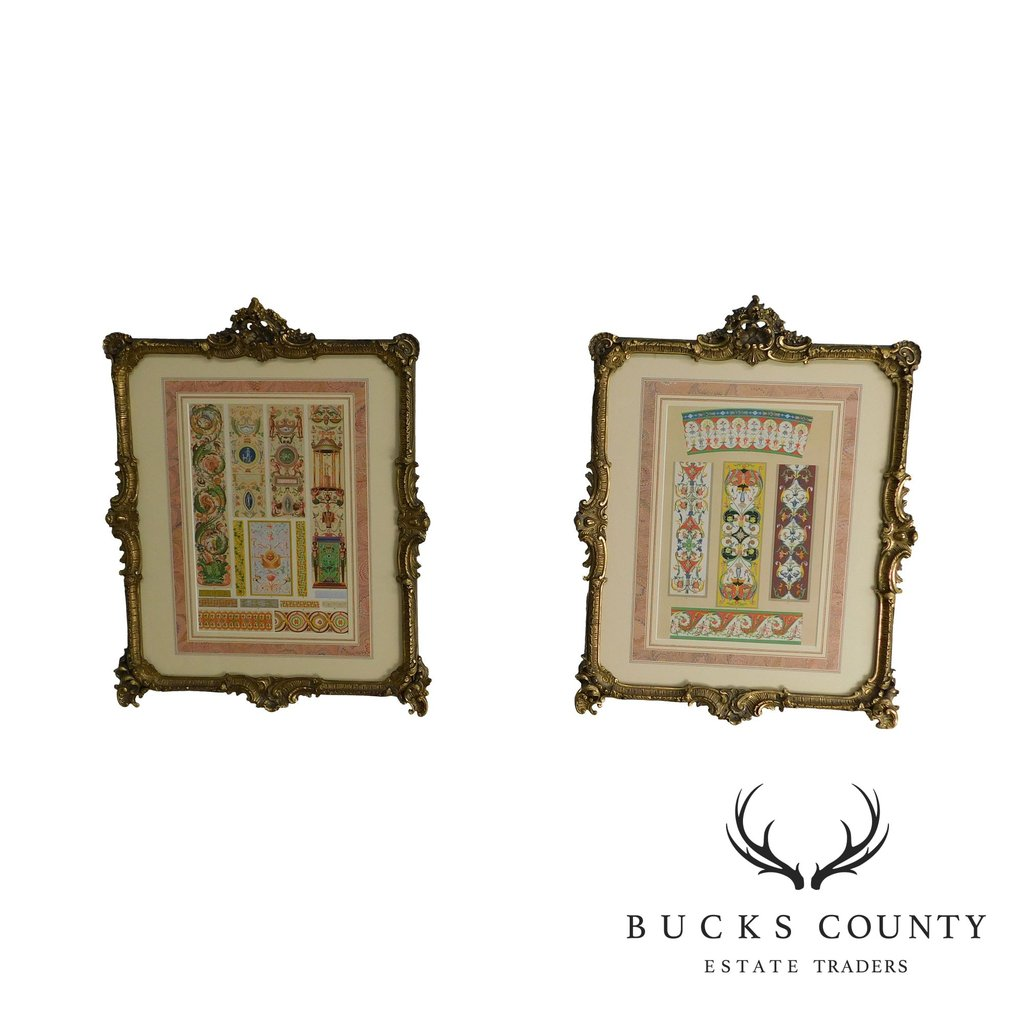 Rococo Gilt Framed Pair of Prints Showing Samples of Decorative 1024x1024