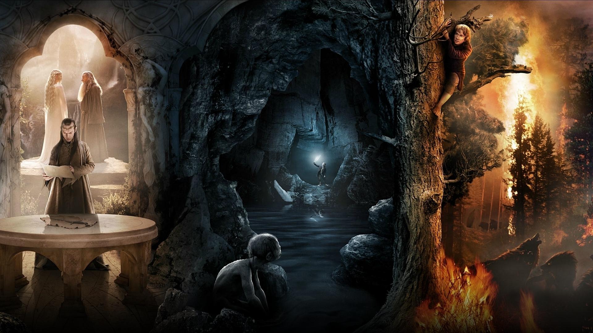 HD Wallpaper - Gollum - Bäume, Wald, Gandalf, Feuer, Elfen, Collage ...