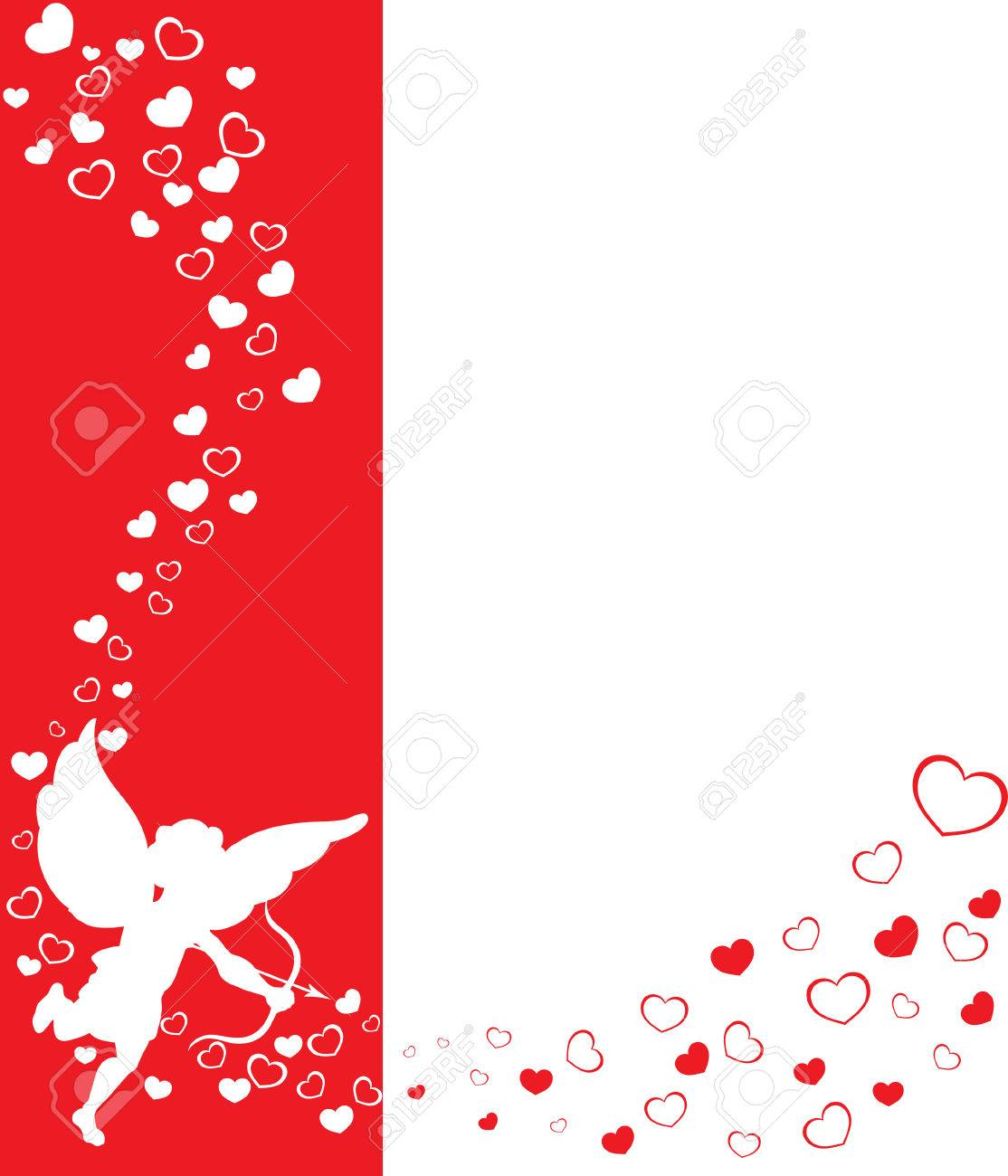 Love Angel Eros On A Red Background With Hearts Stock Photo 1114x1300