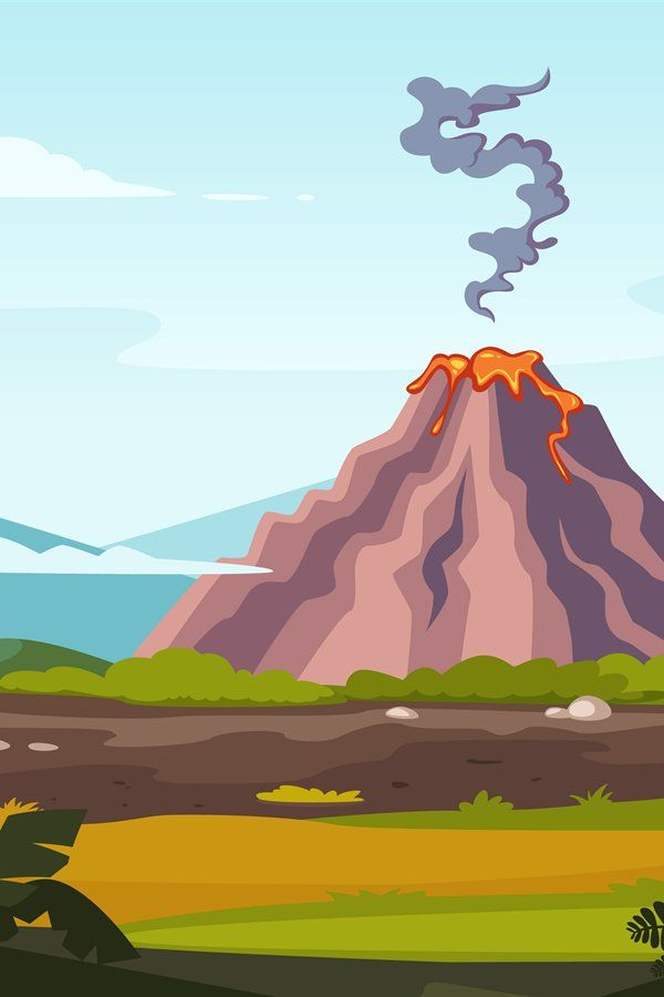 Wild landscape with volcano and lava Cartoon background for 600x900