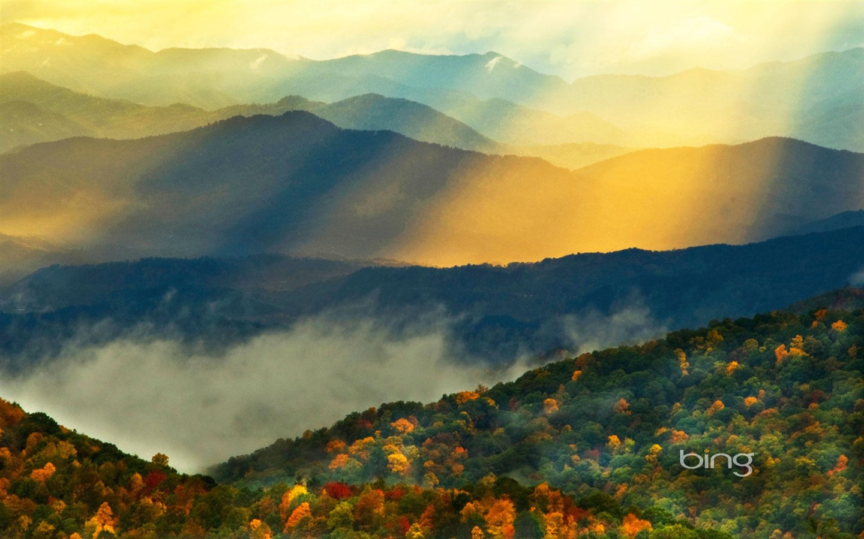 Windows 7 Bing Themes mountains sun dipped widescreen HD wallpaper 1440x900