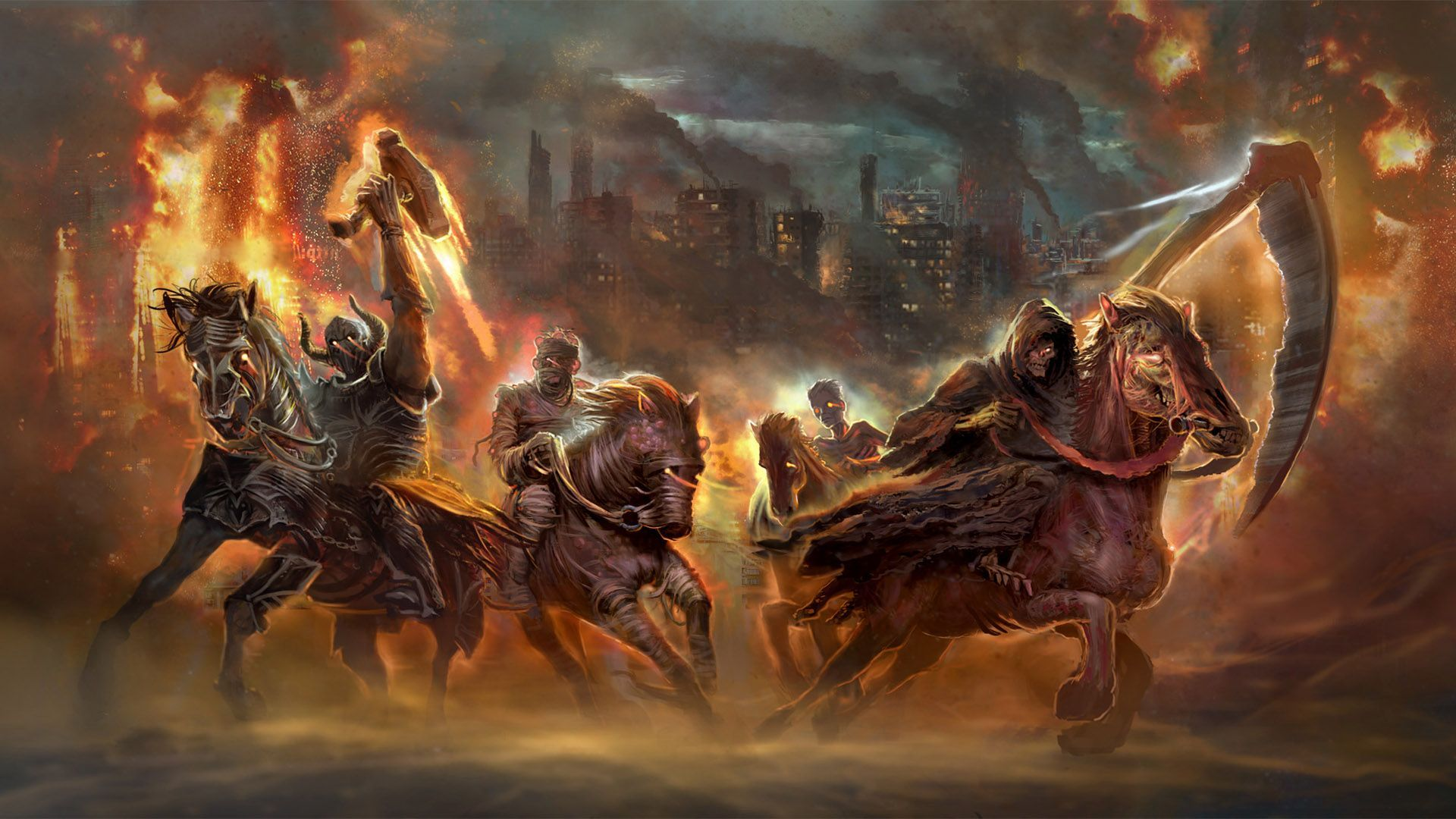 the four horsemen of the apocalypse fantasy hd wallpaper 1920x1080 1920x1080