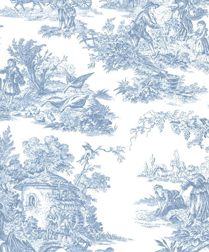 Blue French Country Toile Wallpaper Wallpapersafari