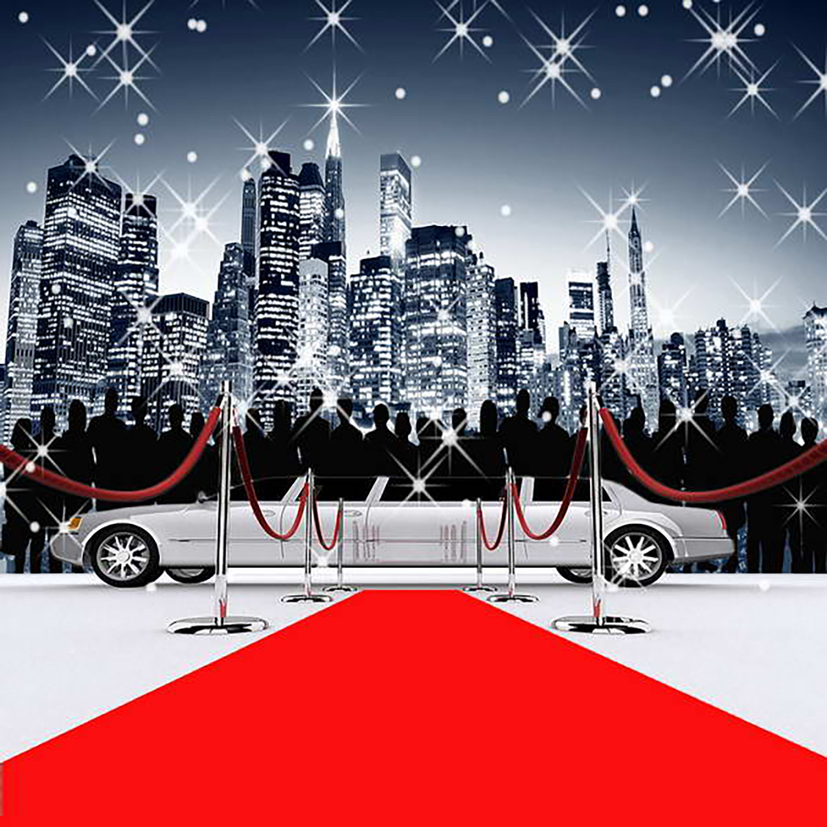 Red Carpet Limousine Bustling City Model photo backdrop Vinyl 1200x1200