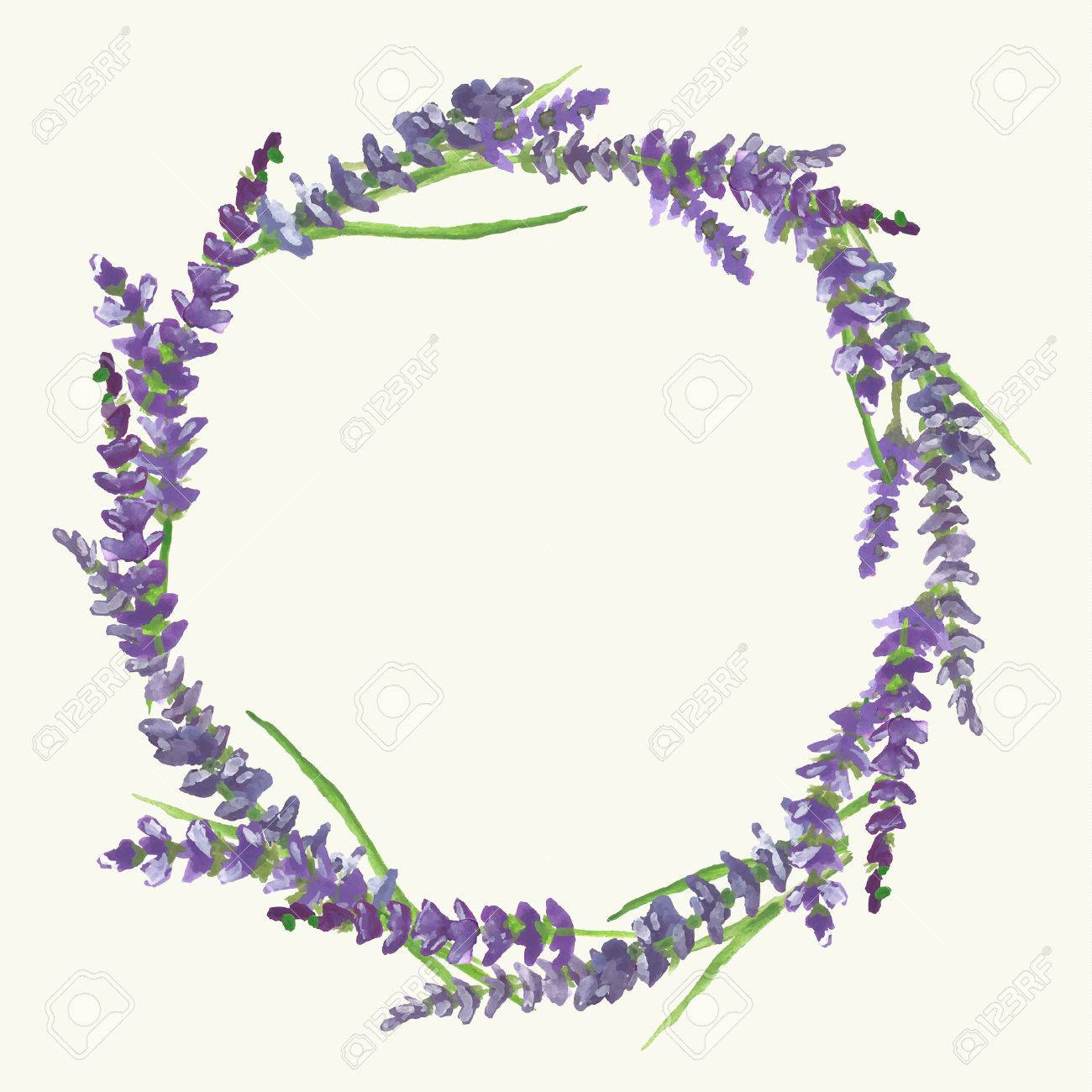 Lavender Wreath On Beige Background In Provence Style Watercolor 1300x1300