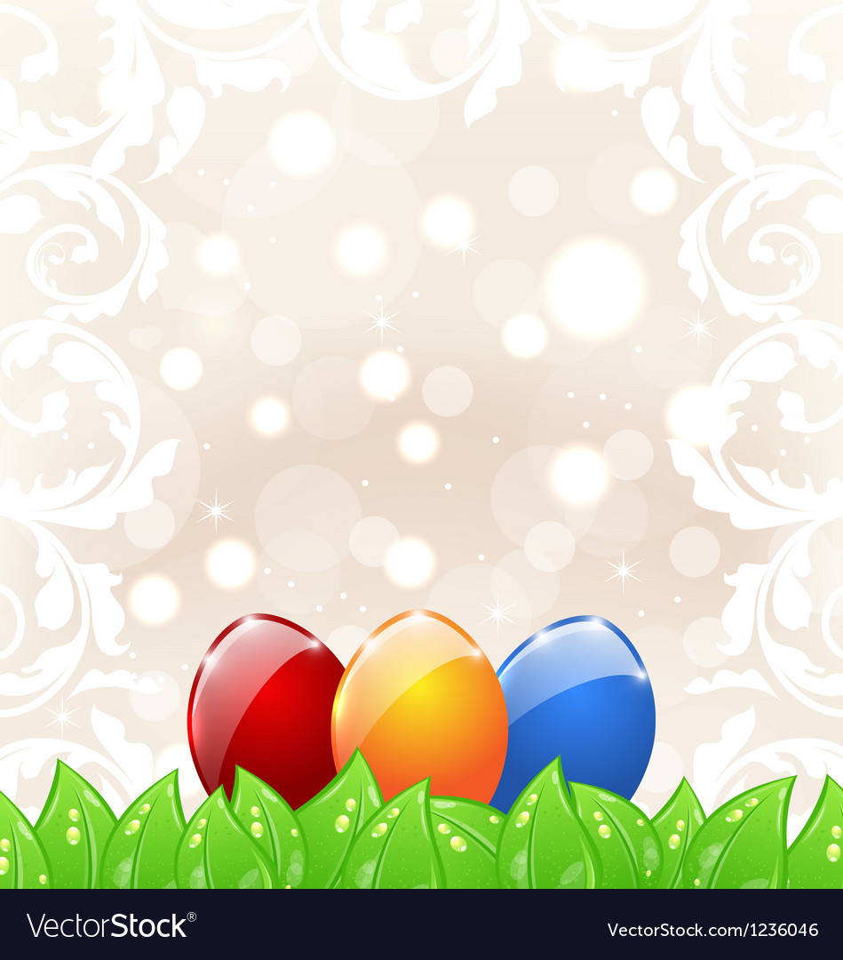 Easter background with colorful eggs Royalty Vector 949x1080