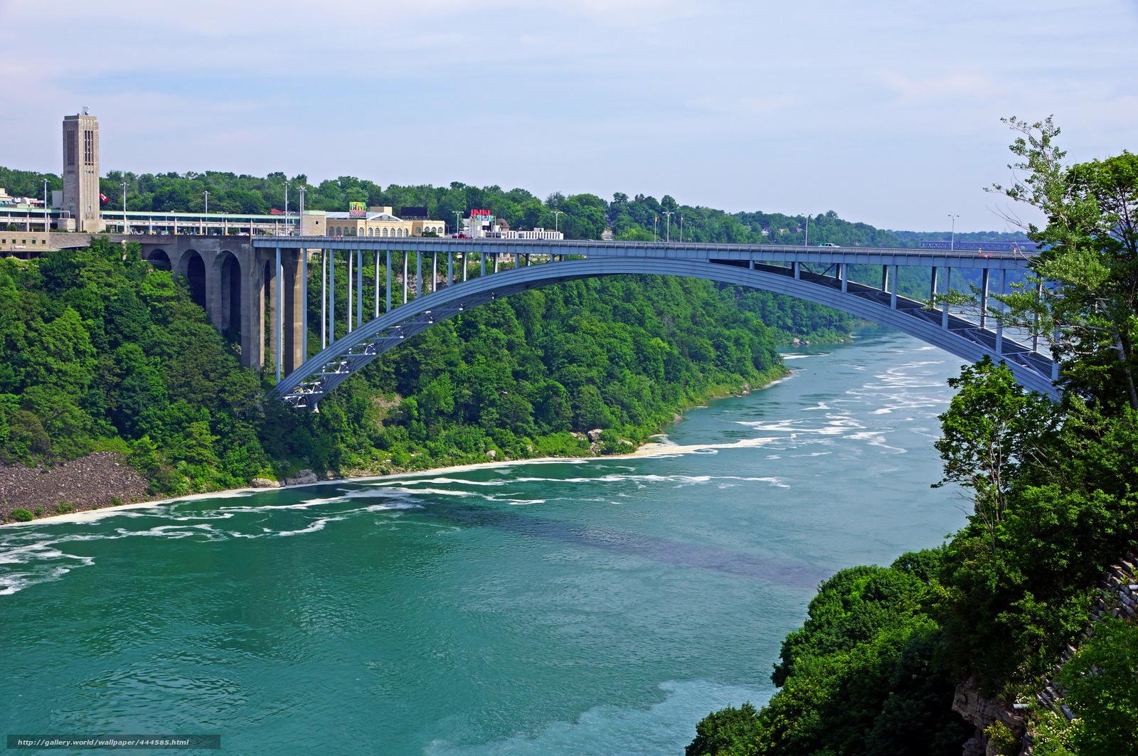 wallpaper USA New York Niagara Falls bridge between us and canada 1600x1063