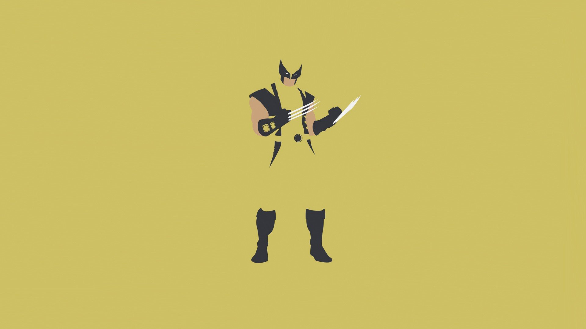 Minimalist Wolverine Wallpaper Yellow Marvel Comics X MEN 1920x1080