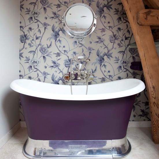 Small purple bathroom Bathroom wallpapers housetohomecouk 550x550
