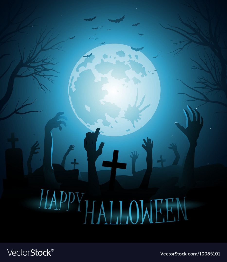 Halloween background with zombies and the moon Vector Image 933x1080