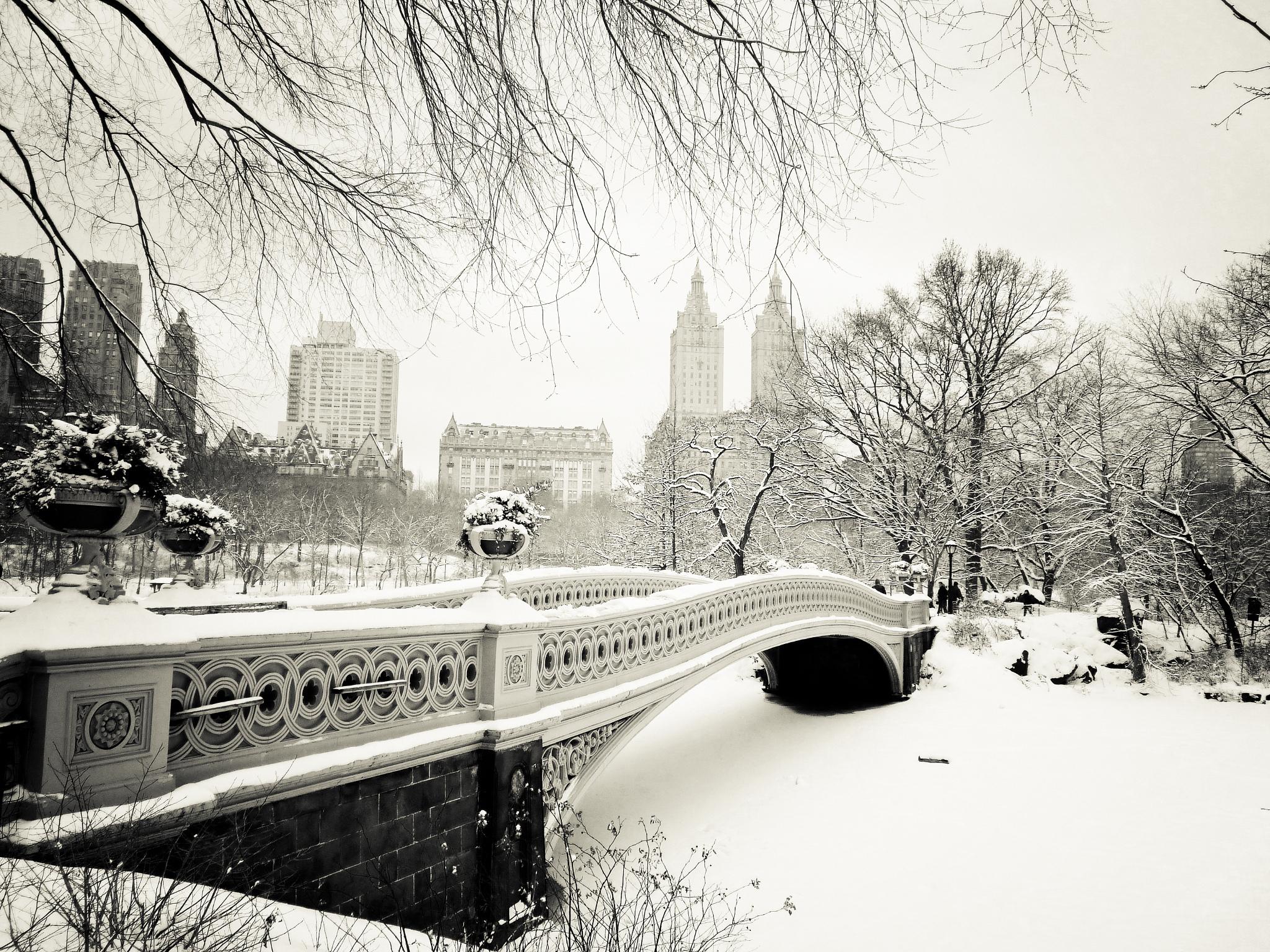 Pictures New York City USA Winter Bridges Snow Cities 2048x1536 2048x1536