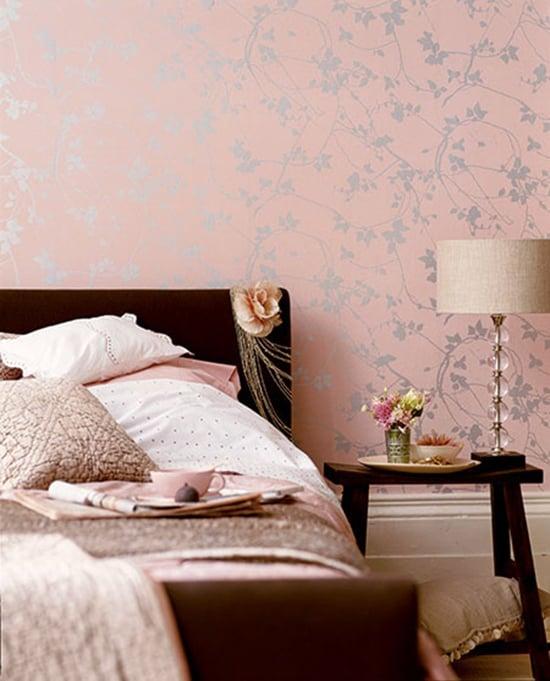 Black Light Wallpaper For Bedroom: Blush Pink And Gold Wallpaper