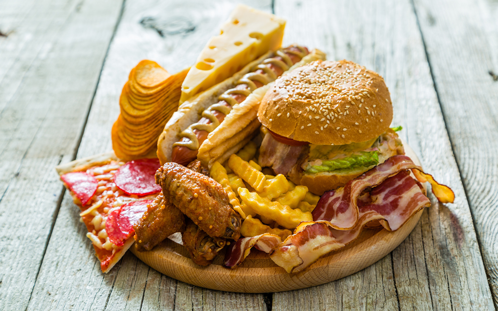Image Chips Hot dog Hamburger finger chips Cheese Fast 1680x1050 1680x1050