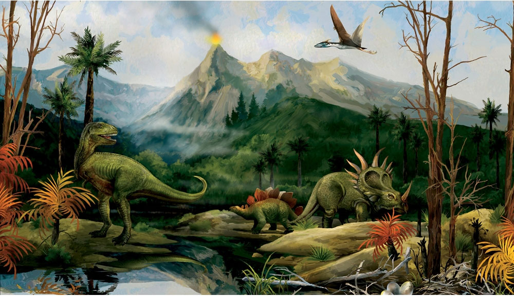 Dinosaur Landscape Wall Mural   Jurassic Dino Volcano Wallpaper Chair 1000x576