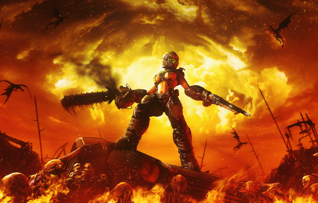 Wallpaper weapons fire warrior Demons From The Mars The Evil 1332x850