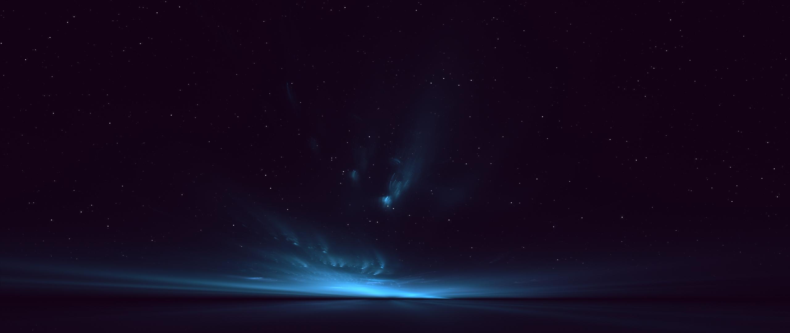 HD Background Blue Aurora Light Space Stars Wallpaper WallpapersByte 2560x1080
