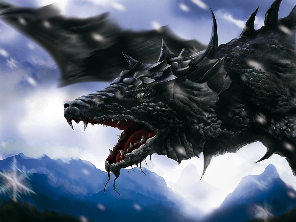 cartoon picture Black Dragon Wallpaper 1024x768