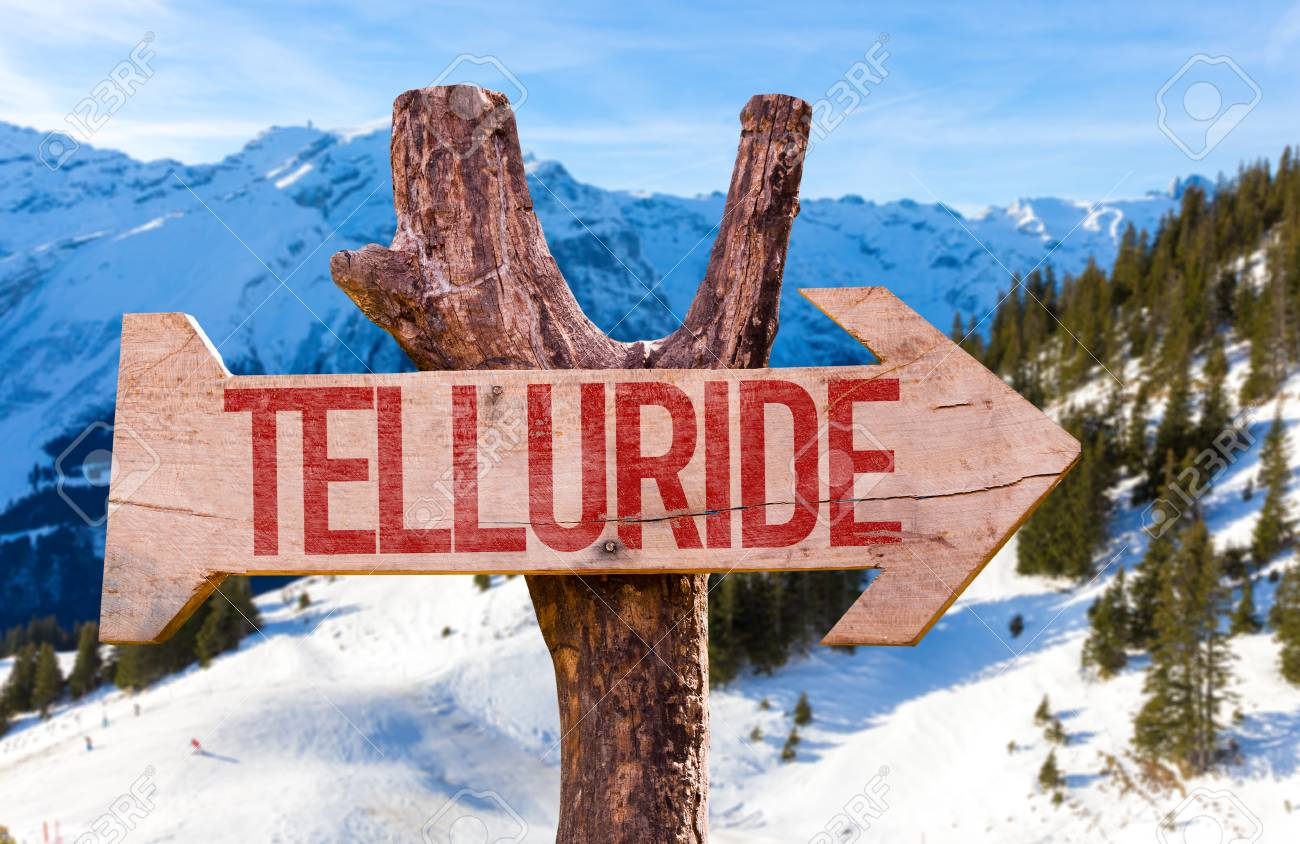 Telluride Wooden Sign With Winter Background Stock Photo Picture 1300x844