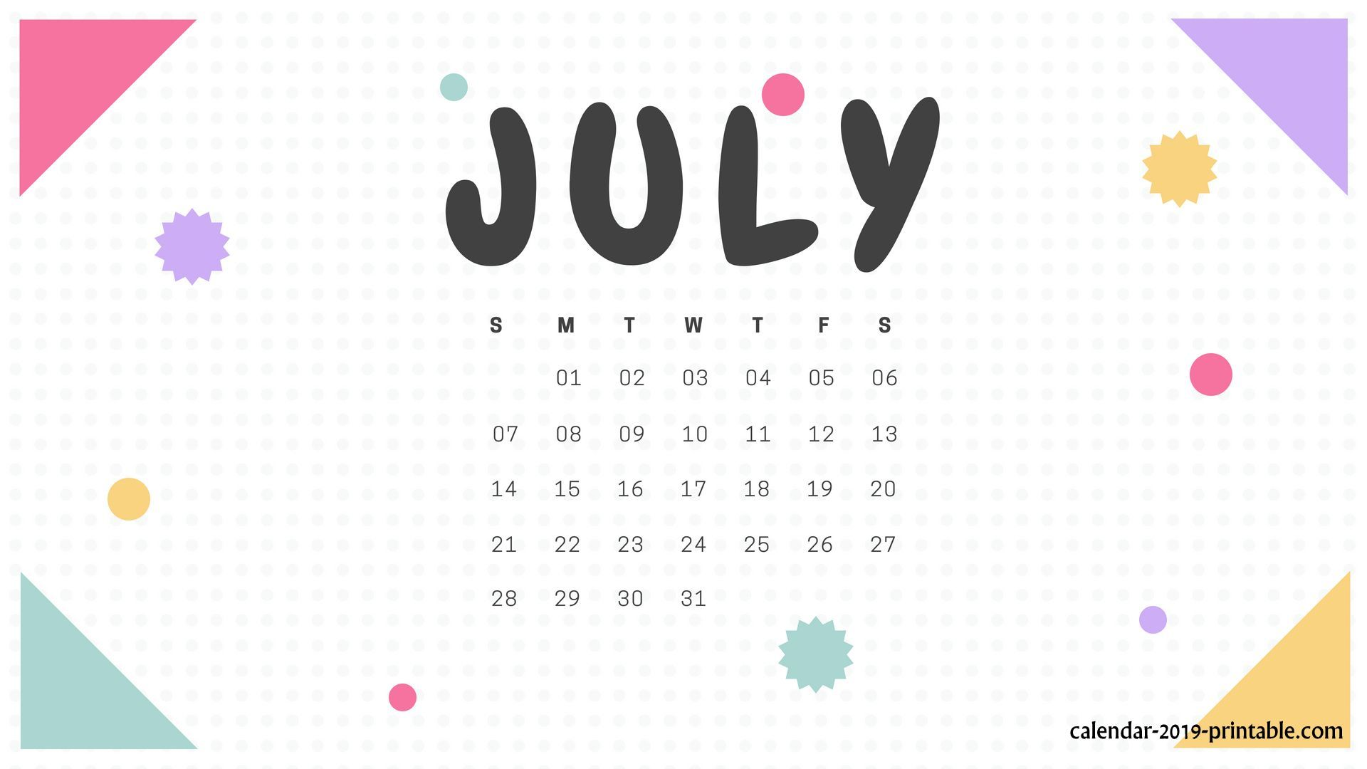july 2019 calendar wallpaper Calendar 2019 Wallpapers 2019 1920x1080