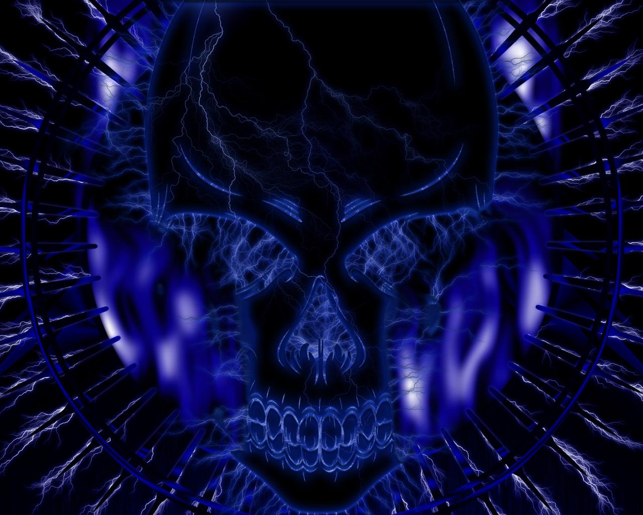 Incredible Neon Skull Wallpaper: Blue Skull Wallpaper