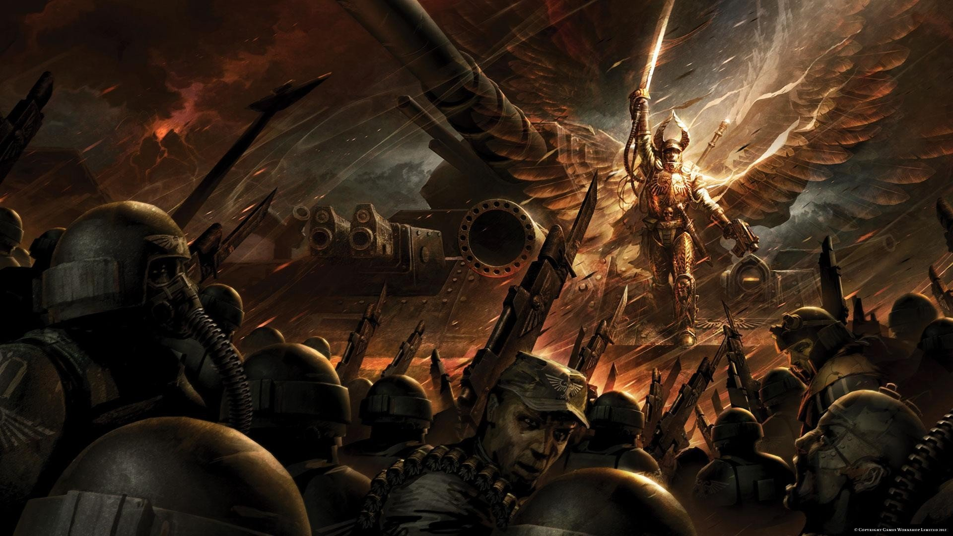 imperial guard Warhammer 40K Blood Angel swords Angel Baneblade 1920x1080