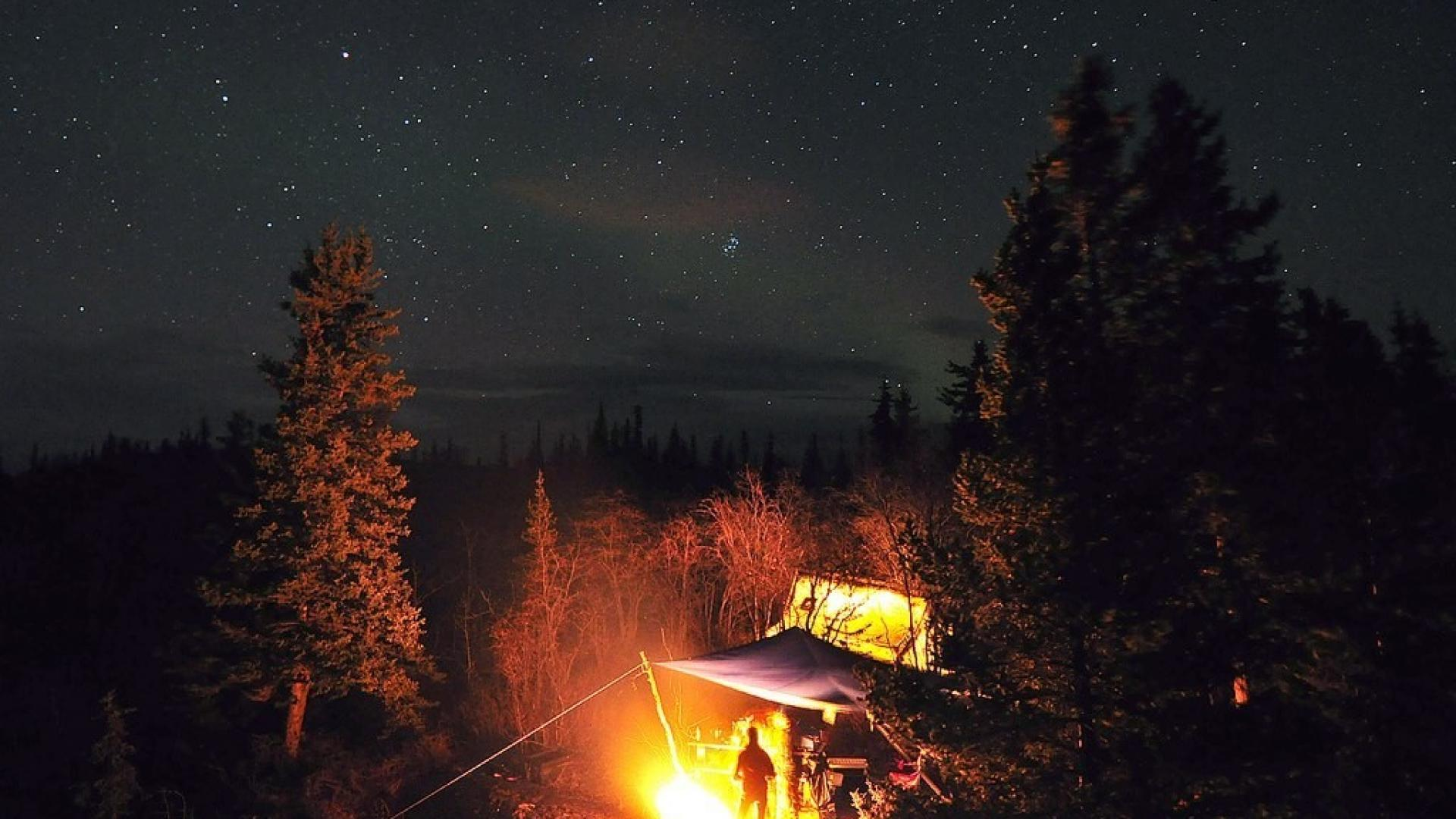 Trees stars fire tents camping tent wallpaper 58080 1920x1080