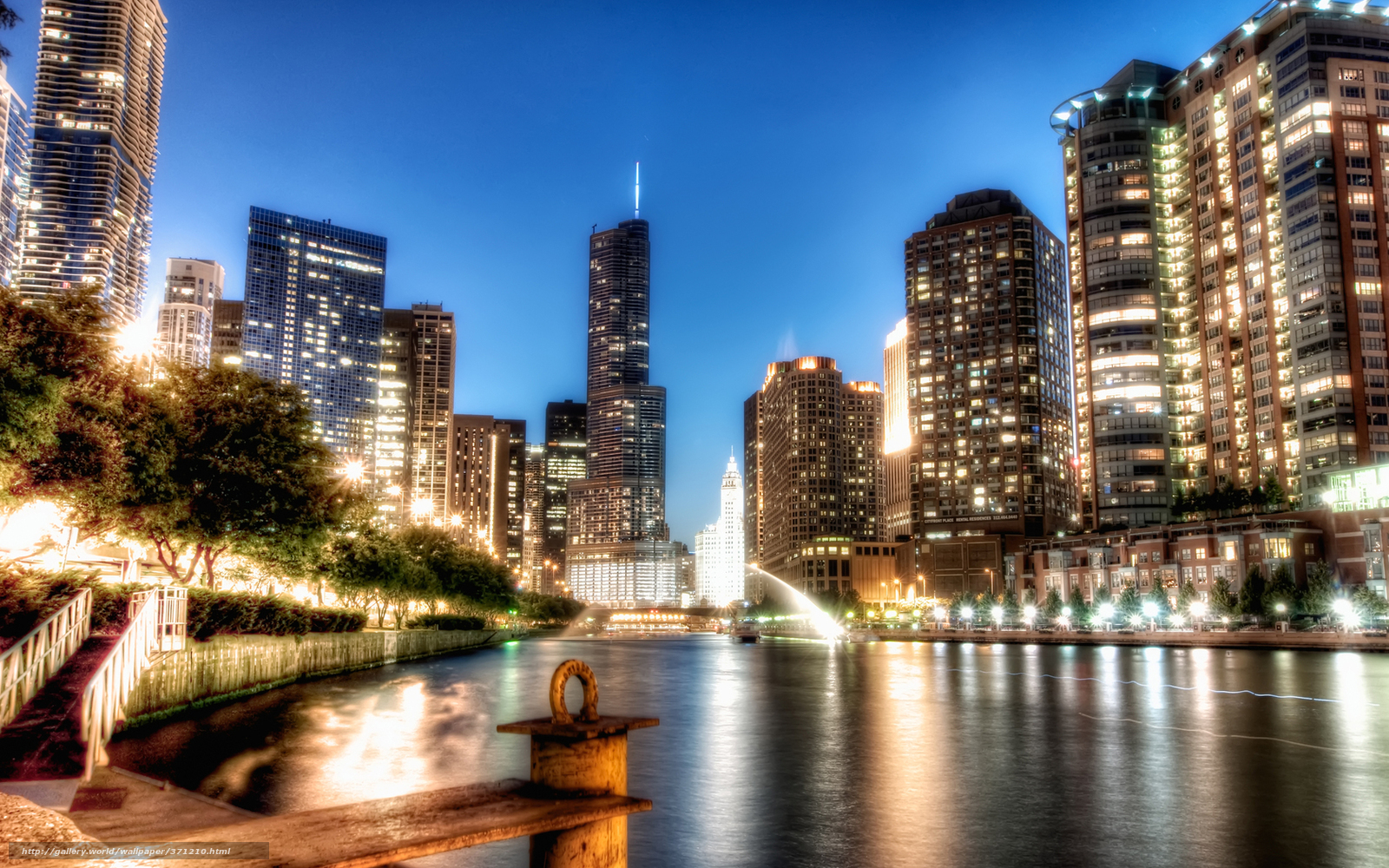 Download wallpaper Chicago Illinois night desktop 1600x1000