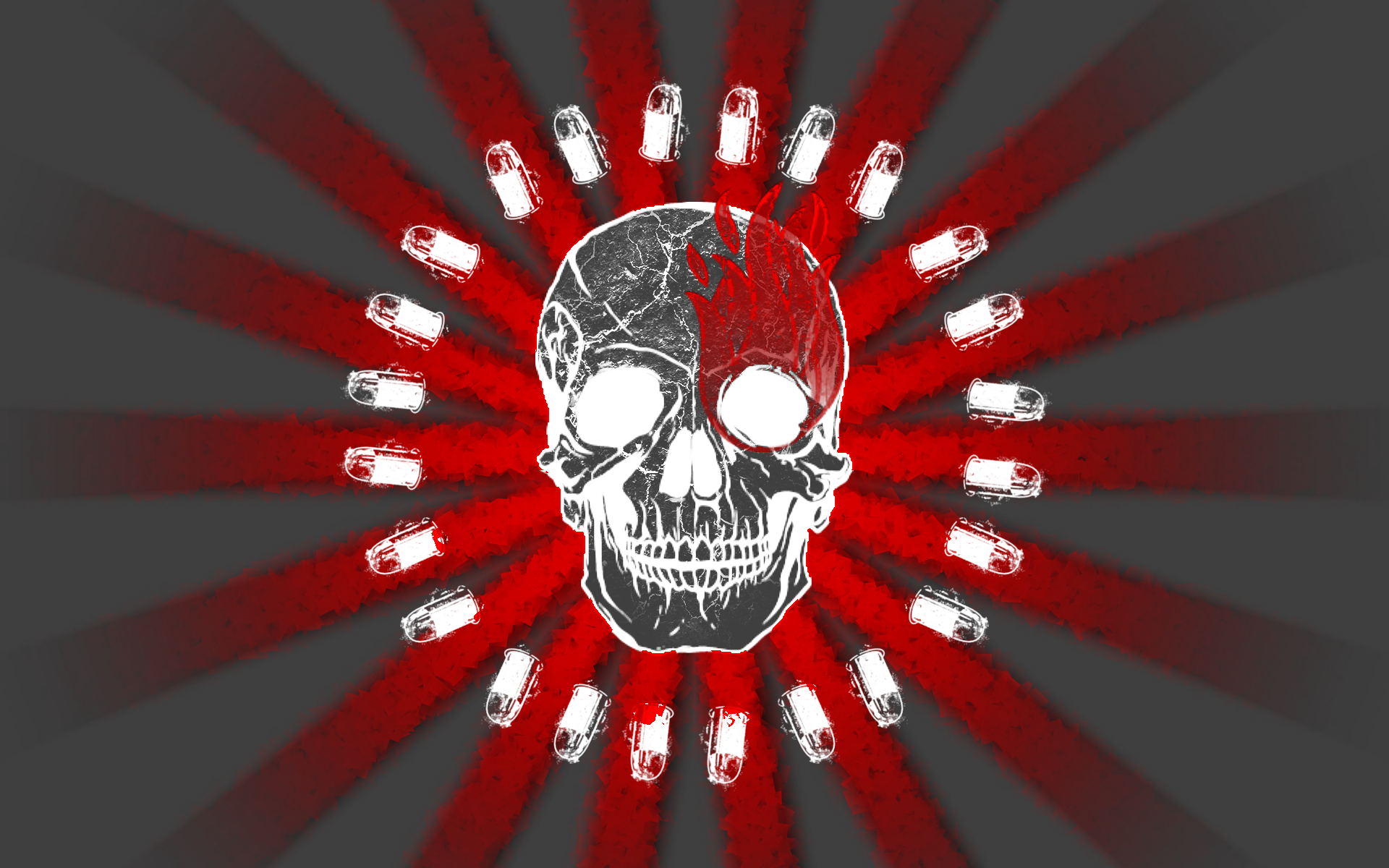 Red Wallpaper 1920x1200 Skulls Red Ammunition Rising Sun Flame 1920x1200
