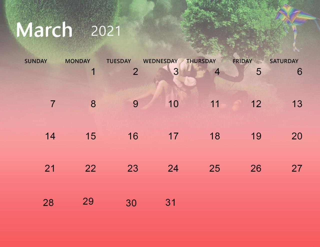 Cute March 2021 Calendar Desktop Wallpaper on We Heart It