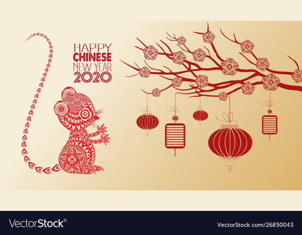Beautiful happy new year 2020 wallpapers year of Vector Image 1000x780