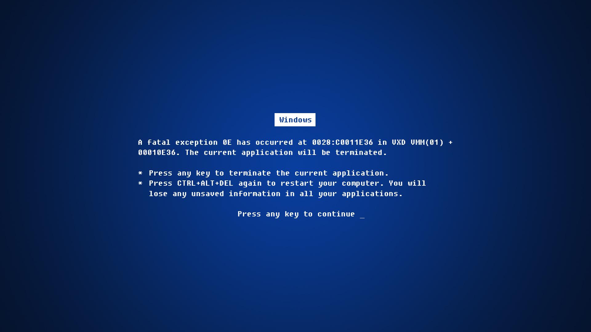 1920x1080 Blue screen of death desktop PC and Mac wallpaper 1920x1080