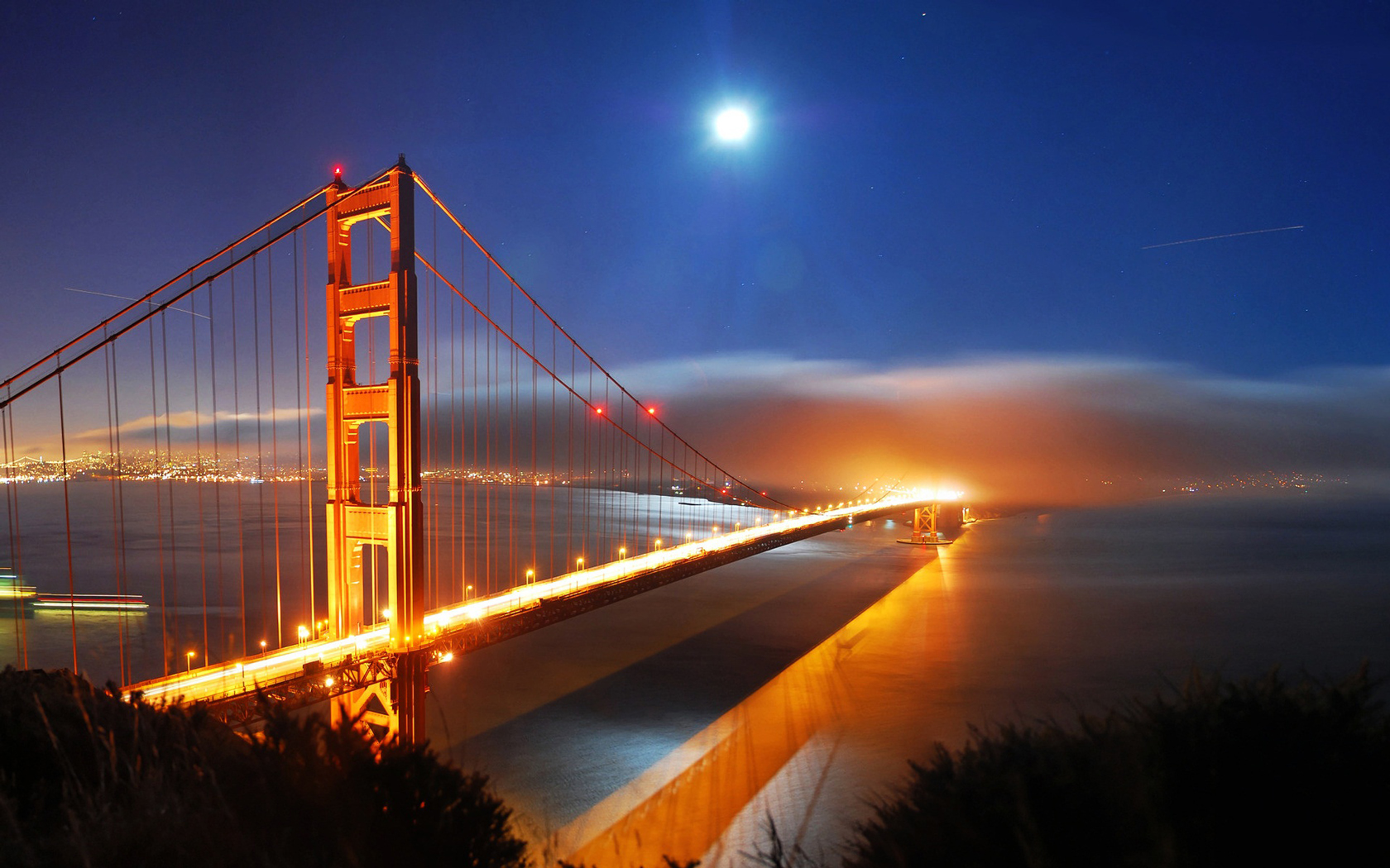 San Francisco Bridge Night Lights computer desktop wallpapers 1680x1050