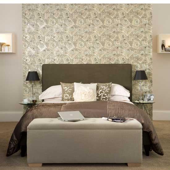 feature wallpaper Hotel style bedroom Freestanding bath Bedroom 550x550