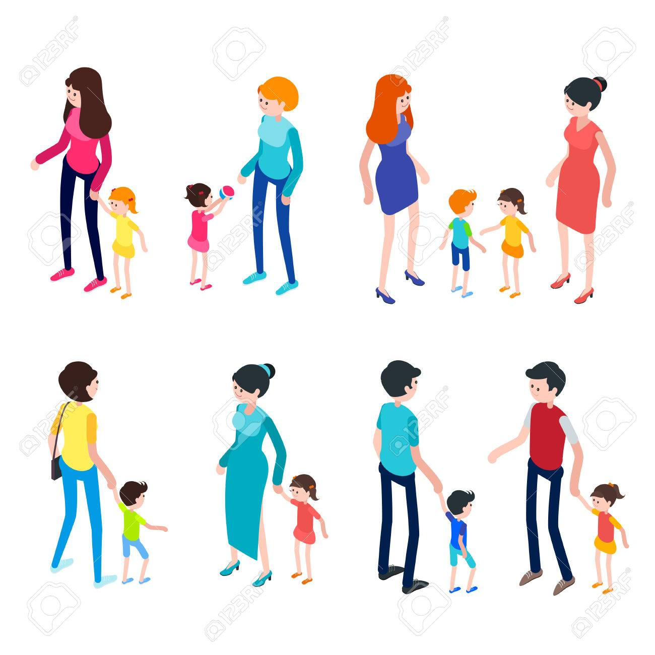 Isometric People Isolated On White Background Young Parents 1300x1300
