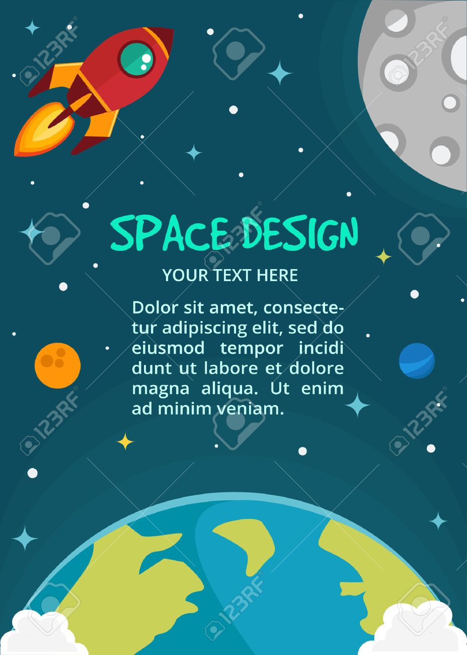 Vector Space Cartoon Background With Text Place Rocket Spaceship 928x1300