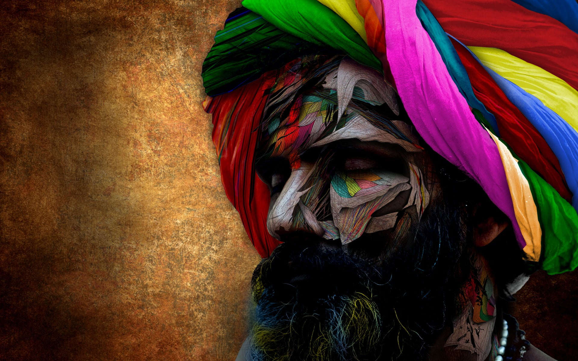 Multicolored bust with turban painting Indian headdress 1920x1200